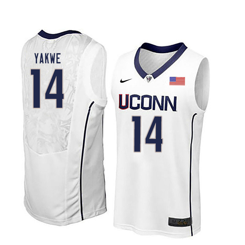 Men #14 Kassoum Yakwe Uconn Huskies College Basketball Jerseys Sale-White