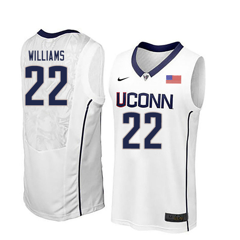 Men #22 Kwintin Williams Uconn Huskies College Basketball Jerseys Sale-White