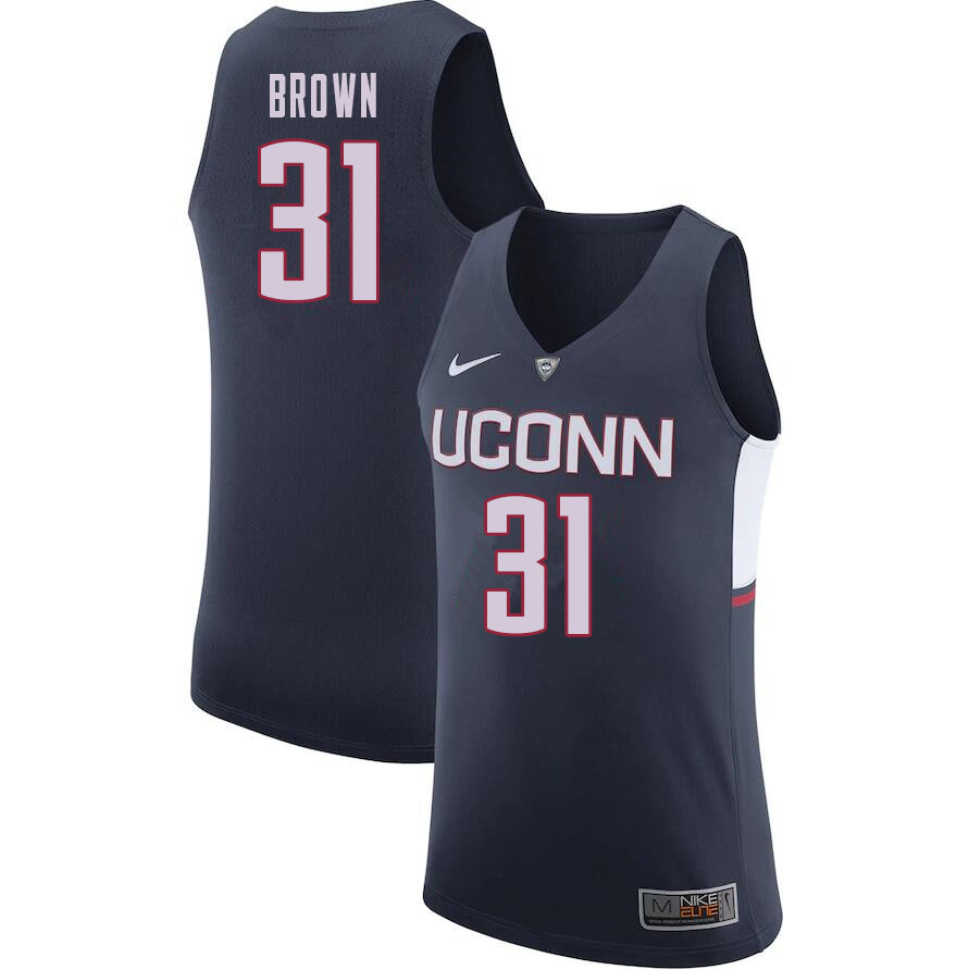 Men #31 Javonte Brown Uconn Huskies College Basketball Jerseys Sale-Navy