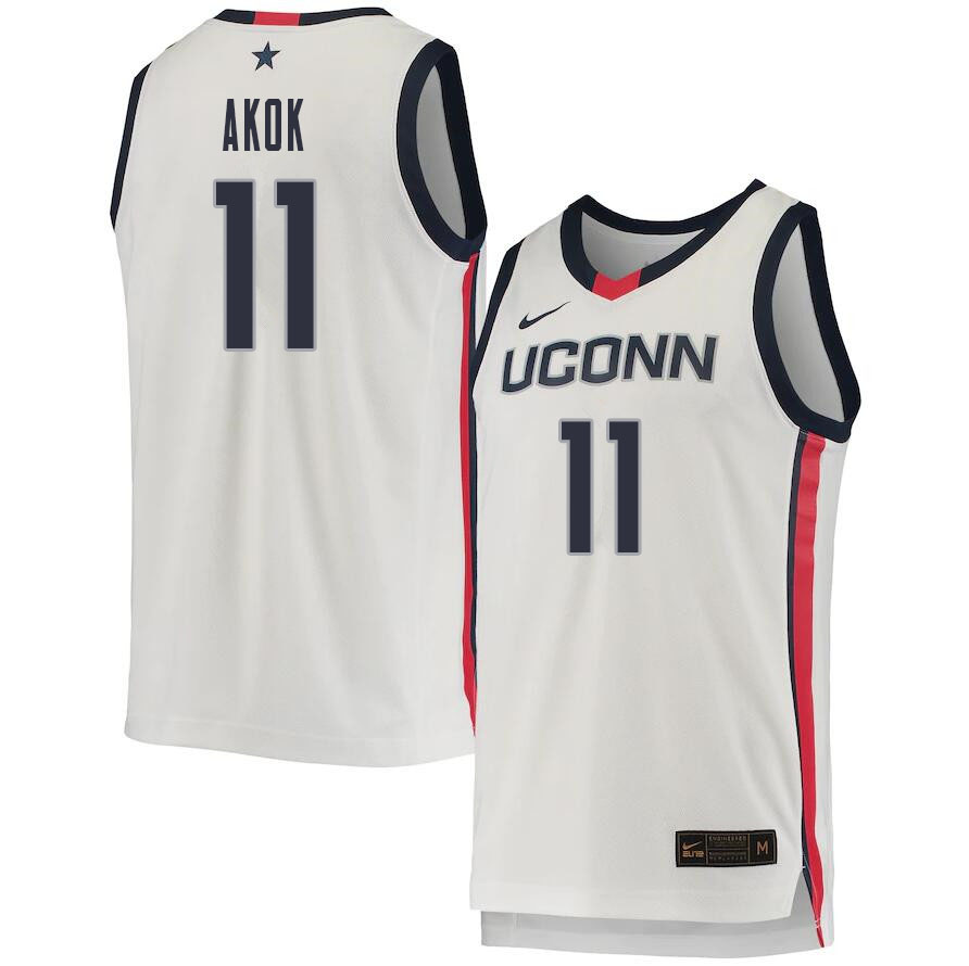 2021 Men #11 Akok Akok Uconn Huskies College Basketball Jerseys Sale-White