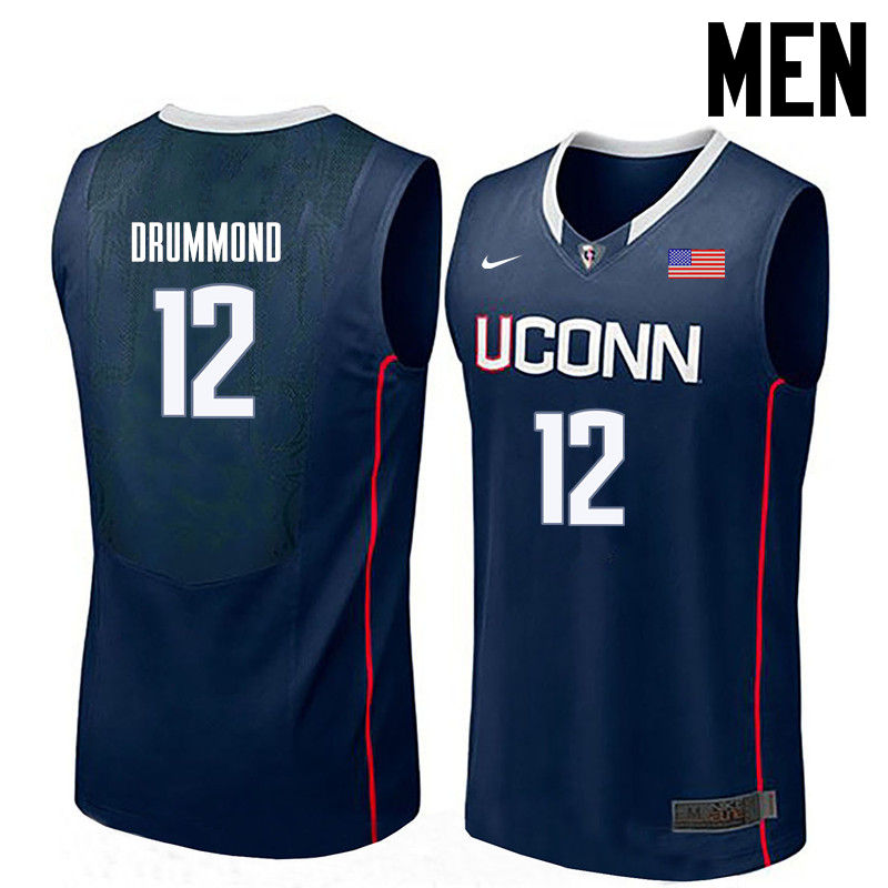 Men Uconn Huskies #12 Andre Drummond College Basketball Jerseys-Navy