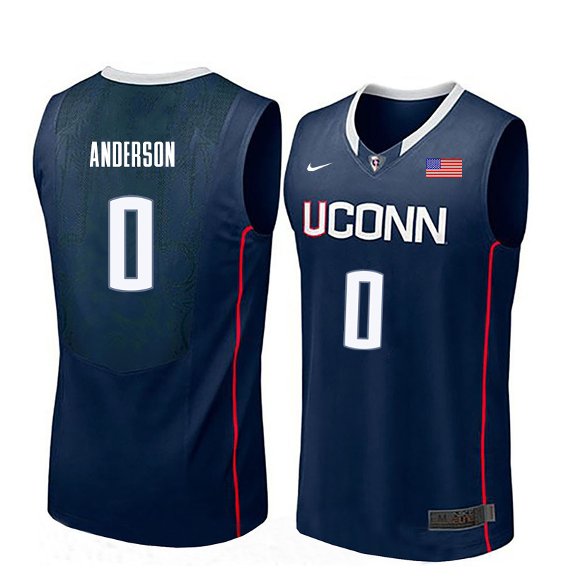 Men Uconn Huskies #0 Antwoine Anderson College Basketball Jerseys-Navy