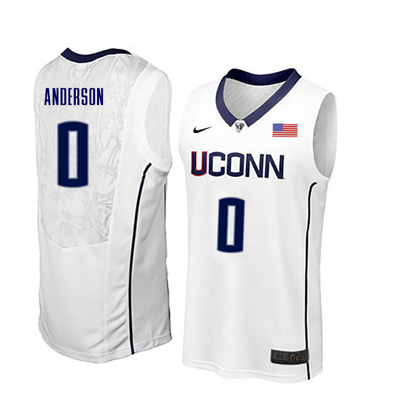 Men Uconn Huskies #0 Antwoine Anderson College Basketball Jerseys-White