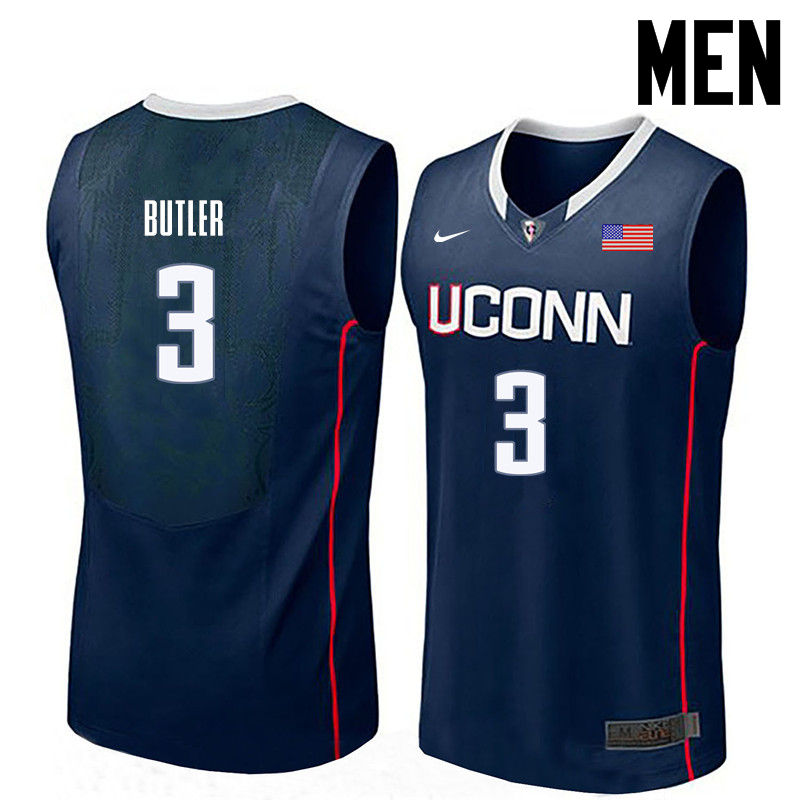 Men Uconn Huskies #3 Caron Butler College Basketball Jerseys-Navy