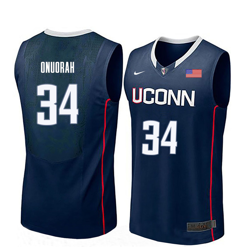 Men Uconn Huskies #34 David Onuorah College Basketball Jerseys-Navy
