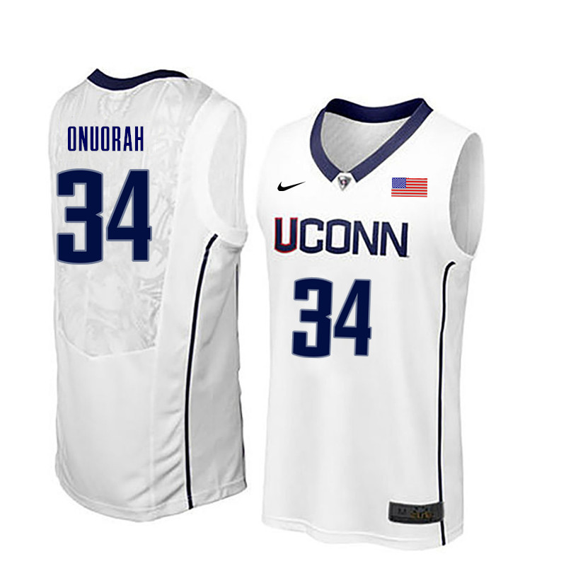 Men Uconn Huskies #34 David Onuorah College Basketball Jerseys-White