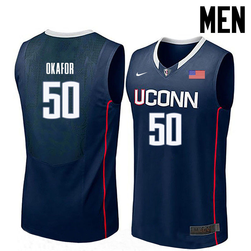 Men Uconn Huskies #50 Emeka Okafor College Basketball Jerseys-Navy