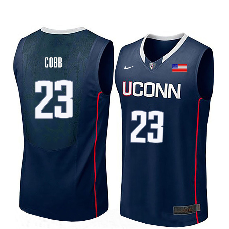 Men Uconn Huskies #23 Eric Cobb College Basketball Jerseys-Navy