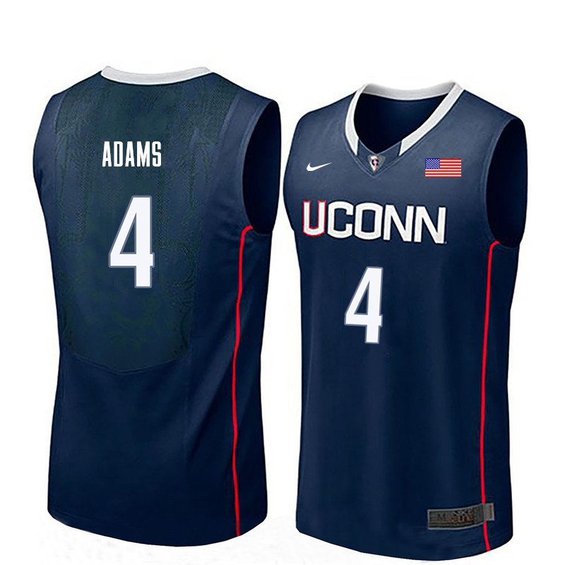Men Uconn Huskies #4 Jalen Adams College Basketball Jerseys-Navy