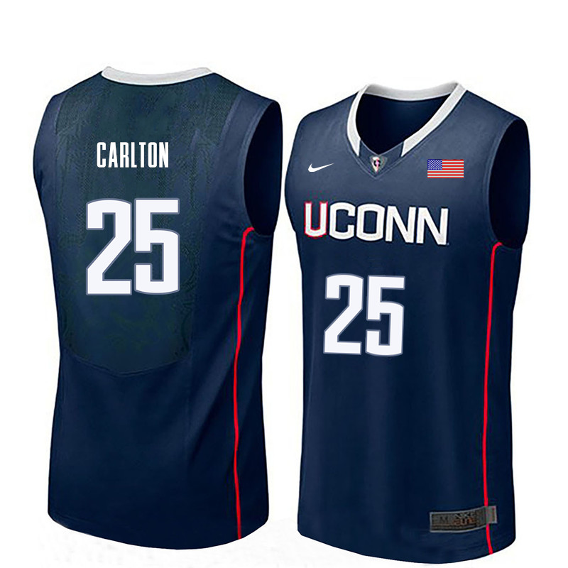 Men Uconn Huskies #25 Josh Carlton College Basketball Jerseys-Navy
