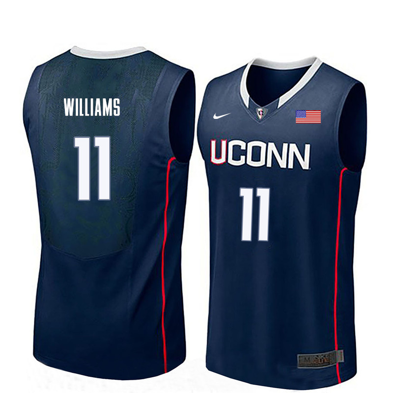 Men Uconn Huskies #11 Kwintin Williams College Basketball Jerseys-Navy