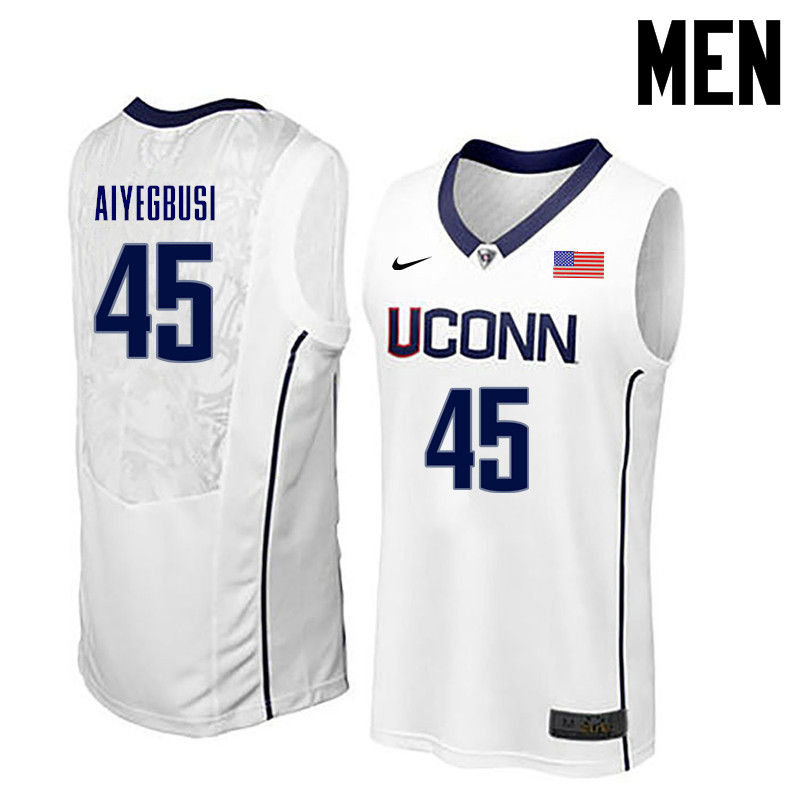 Men Uconn Huskies #45 Omotayo Aiyegbusi College Basketball Jerseys-White