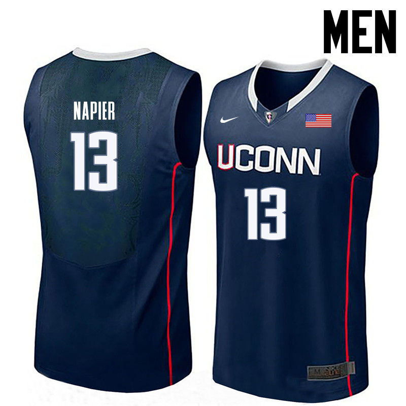 Men Uconn Huskies #13 Shabazz Napier College Basketball Jerseys-Navy
