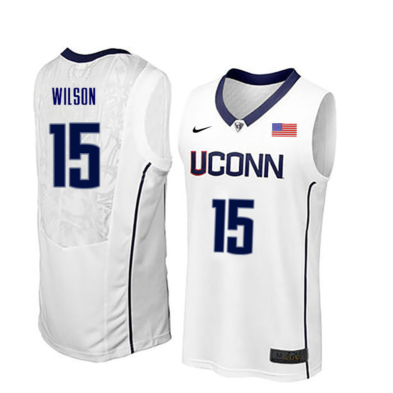 Men Uconn Huskies #15 Sidney Wilson College Basketball Jerseys-White