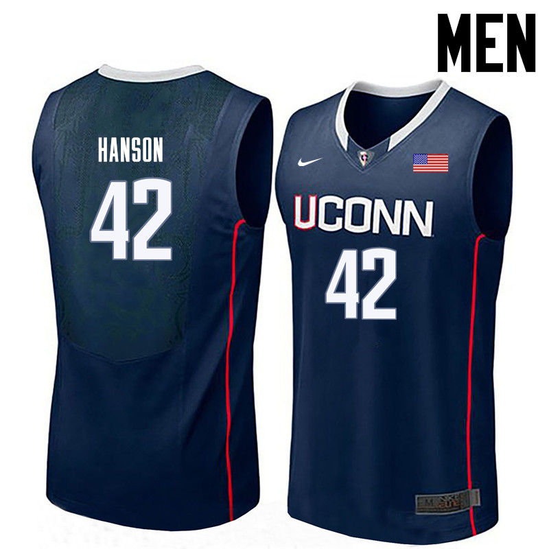 Men Uconn Huskies #42 Tony Hanson College Basketball Jerseys-Navy