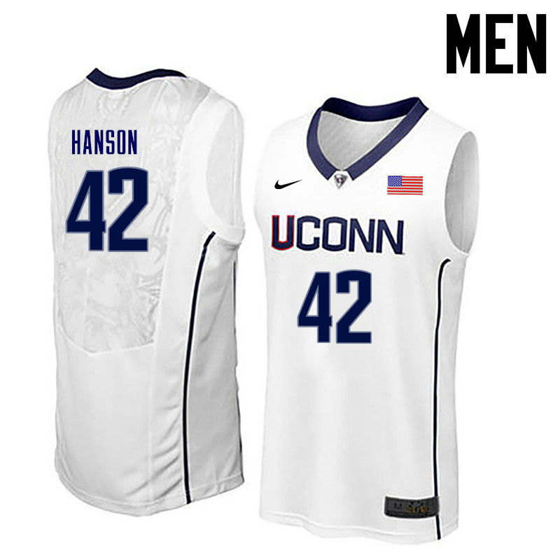 Men Uconn Huskies #42 Tony Hanson College Basketball Jerseys-White