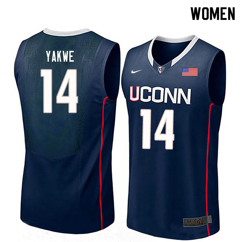 Women #14 Kassoum Yakwe Uconn Huskies College Basketball Jerseys Sale-Navy