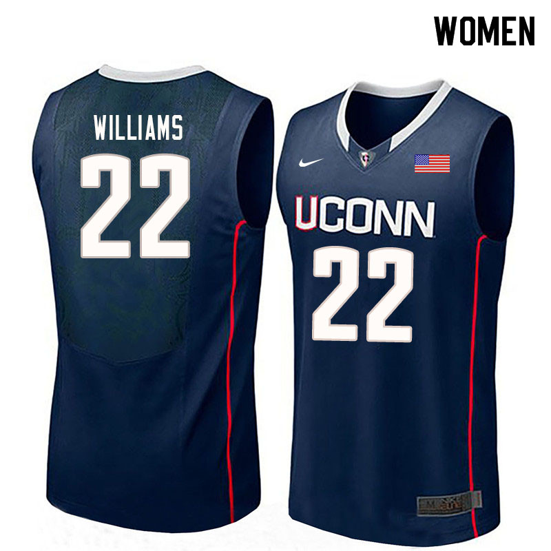 Women #22 Kwintin Williams Uconn Huskies College Basketball Jerseys Sale-Navy