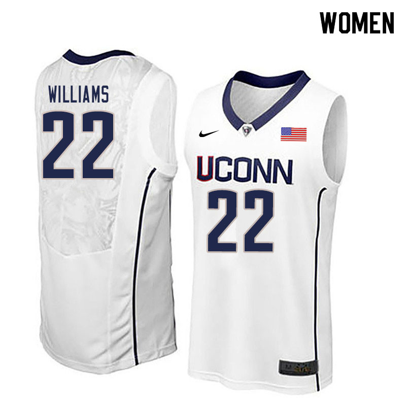 Women #22 Kwintin Williams Uconn Huskies College Basketball Jerseys Sale-White