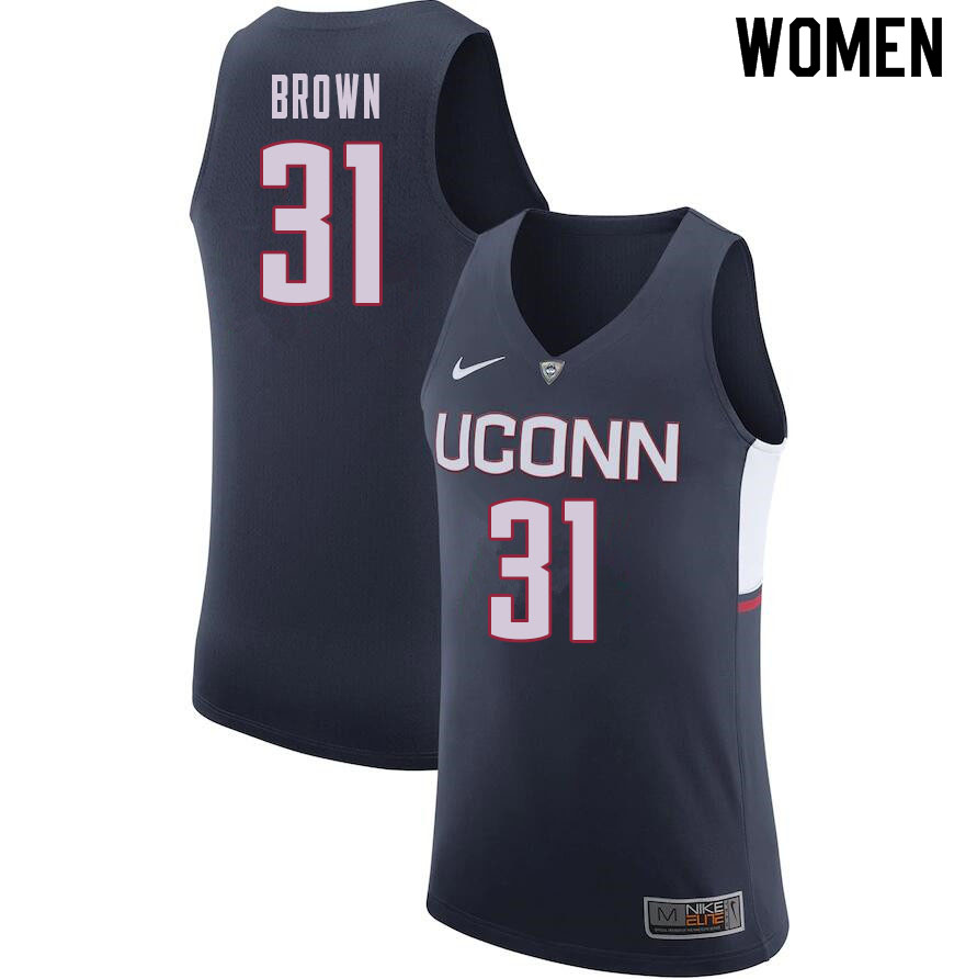 Women #31 Javonte Brown Uconn Huskies College Basketball Jerseys Sale-Navy