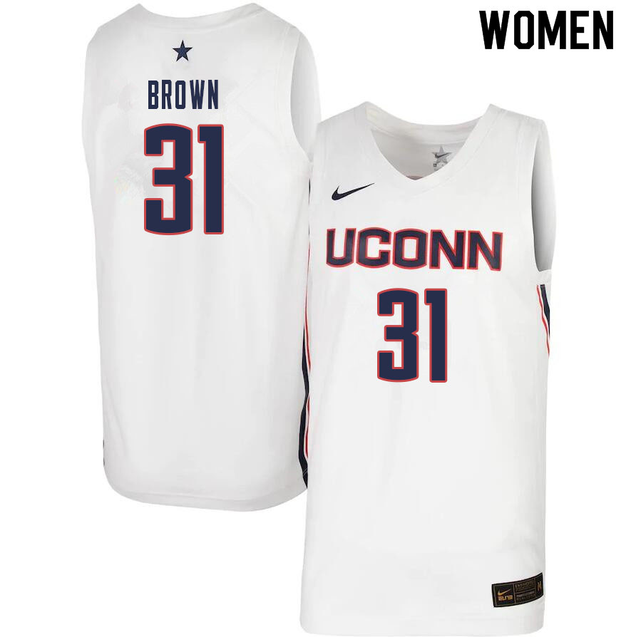 Women #31 Javonte Brown Uconn Huskies College Basketball Jerseys Sale-White