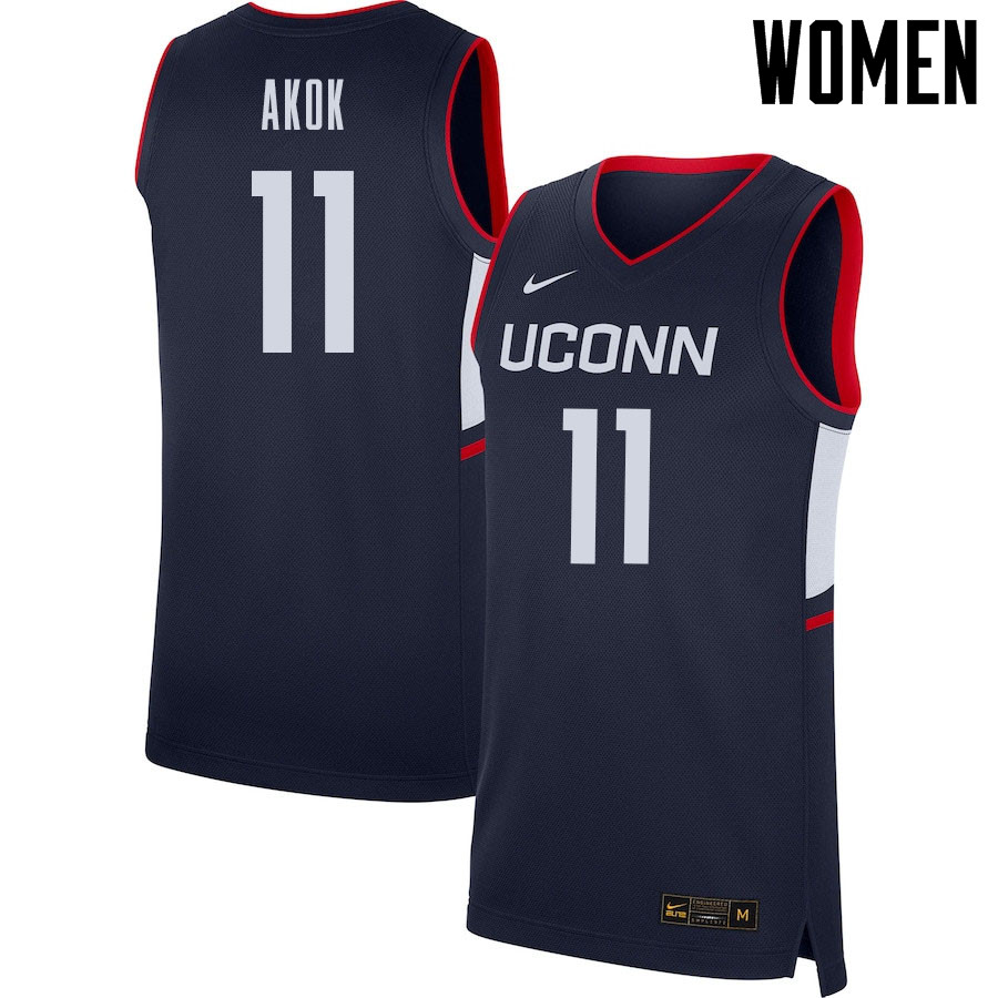 2021 Women #11 Akok Akok Uconn Huskies College Basketball Jerseys Sale-Navy