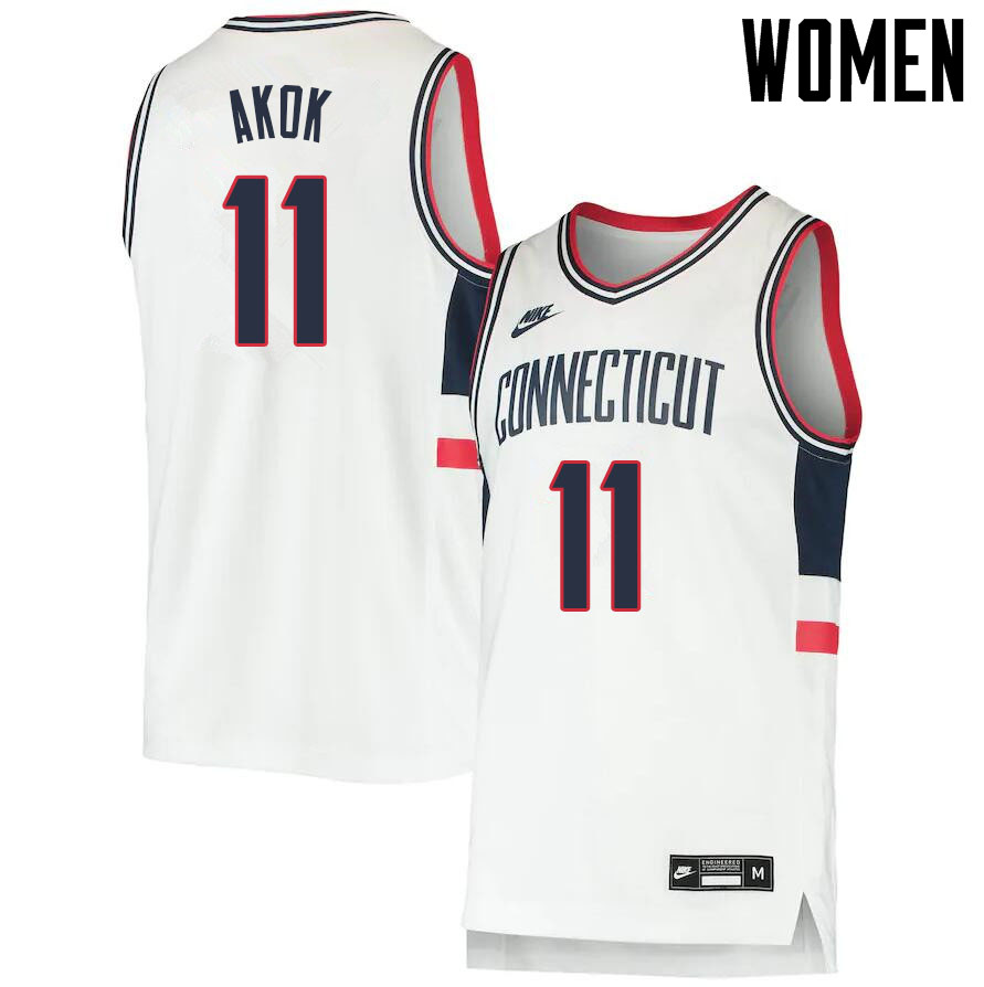 2021 Women #11 Akok Akok Uconn Huskies College Basketball Jerseys Sale-Throwback