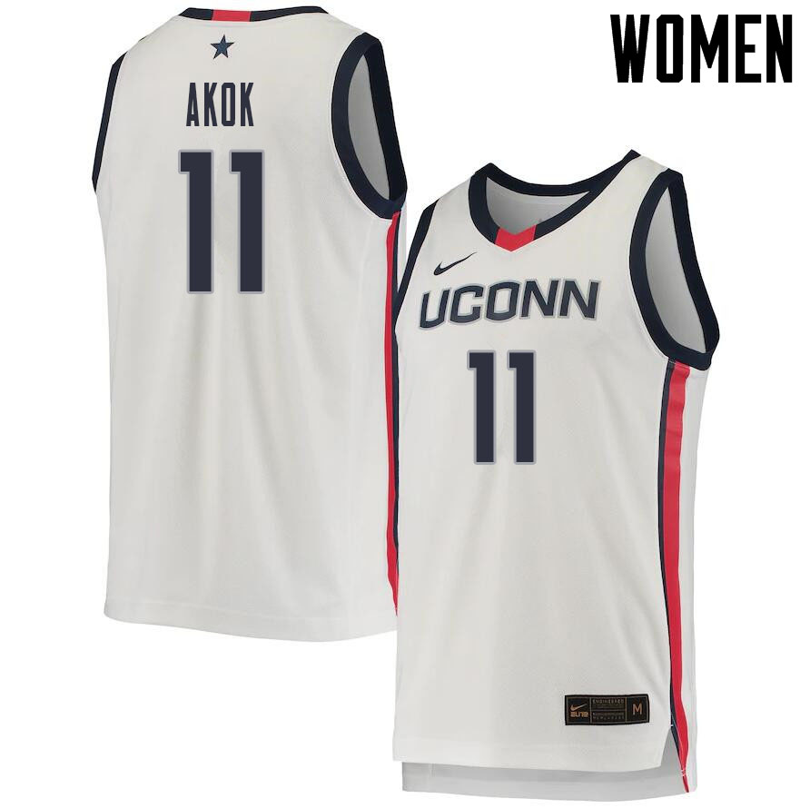 2021 Women #11 Akok Akok Uconn Huskies College Basketball Jerseys Sale-White
