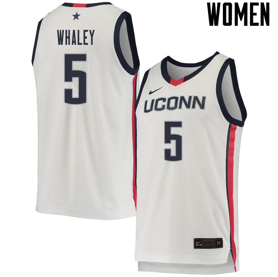 2021 Women #5 Isaiah Whaley Uconn Huskies College Basketball Jerseys Sale-White
