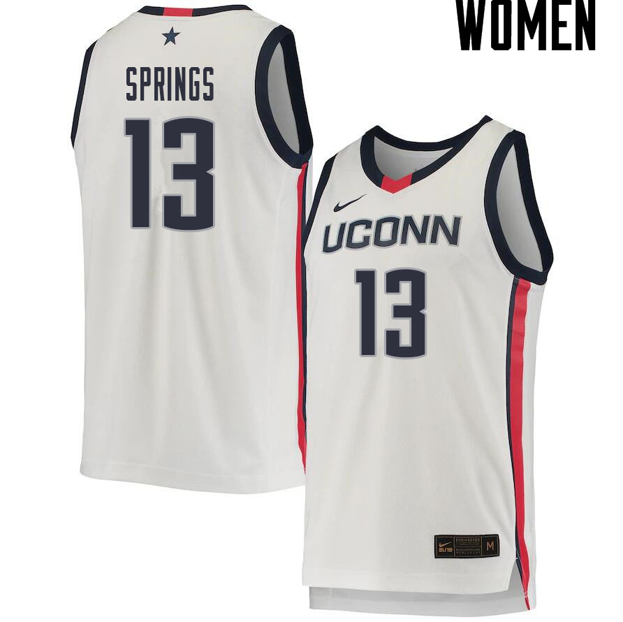 2021 Women #13 Richie Springs Uconn Huskies College Basketball Jerseys Sale-White