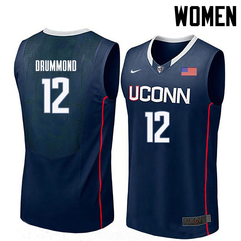 Women Uconn Huskies #12 Andre Drummond College Basketball Jerseys-Navy
