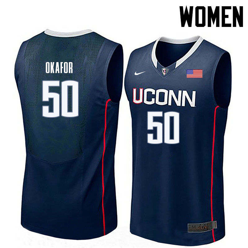 Women Uconn Huskies #50 Emeka Okafor College Basketball Jerseys-Navy