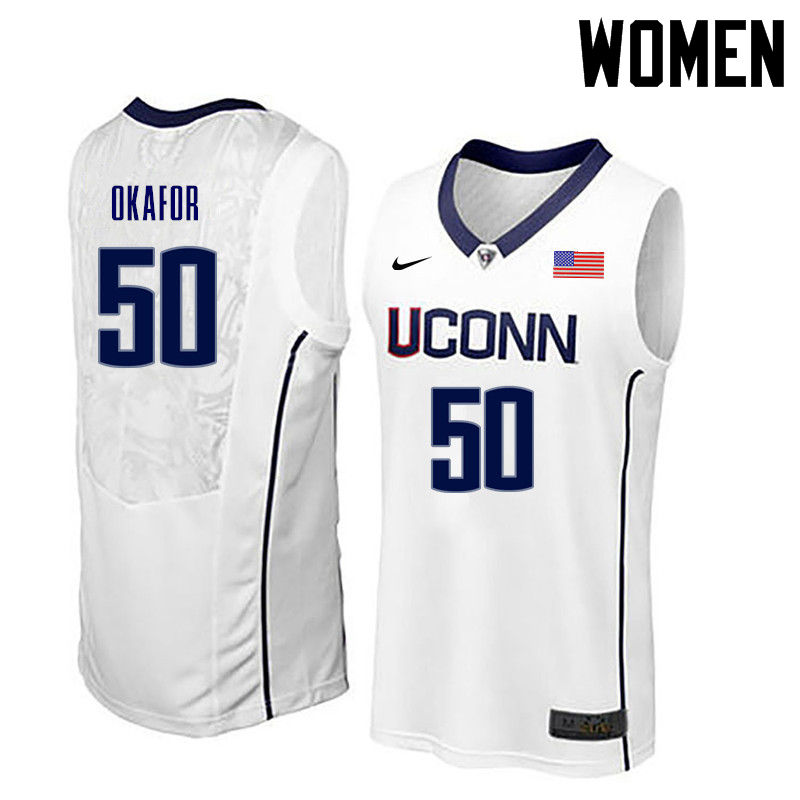Women Uconn Huskies #50 Emeka Okafor College Basketball Jerseys-White