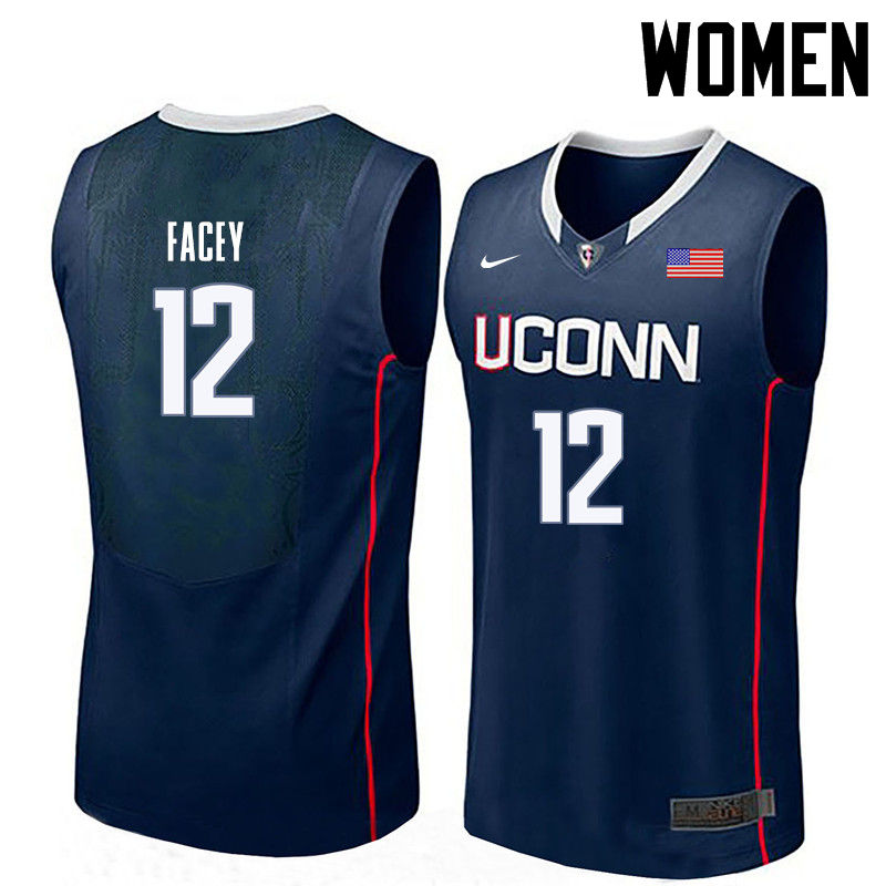 Women Uconn Huskies #12 Kentan Facey College Basketball Jerseys-Navy