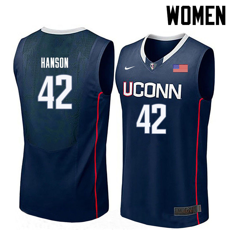 Women Uconn Huskies #42 Tony Hanson College Basketball Jerseys-Navy