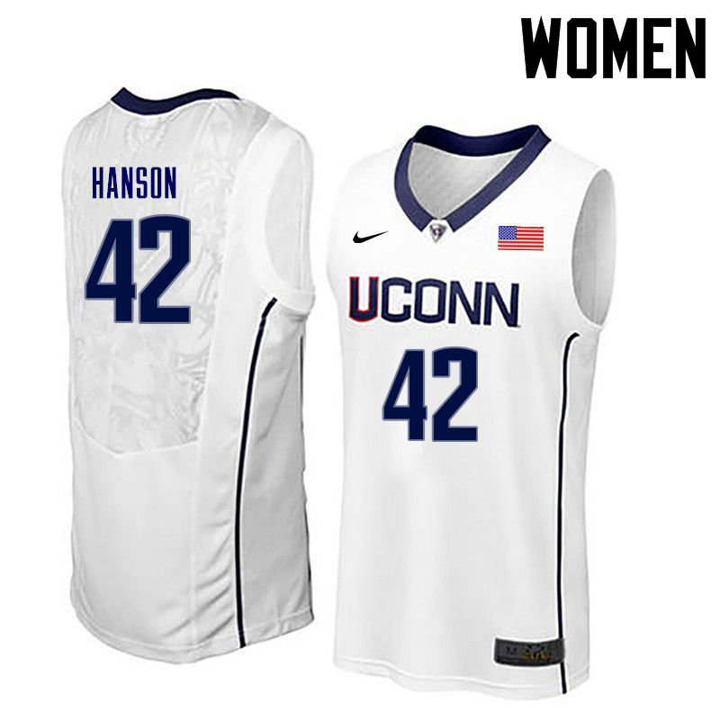 Women Uconn Huskies #42 Tony Hanson College Basketball Jerseys-White