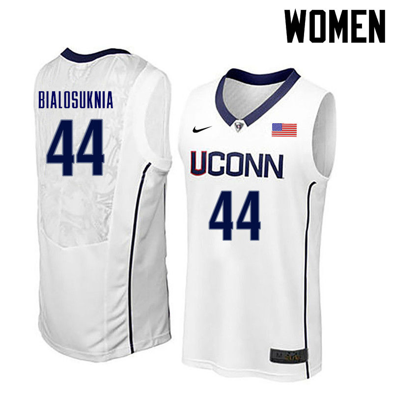 Women Uconn Huskies #44 Wes Bialosuknia College Basketball Jerseys-White