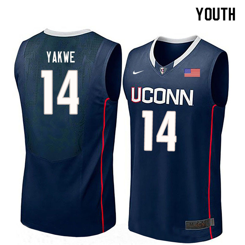Youth #14 Kassoum Yakwe Uconn Huskies College Basketball Jerseys Sale-Navy