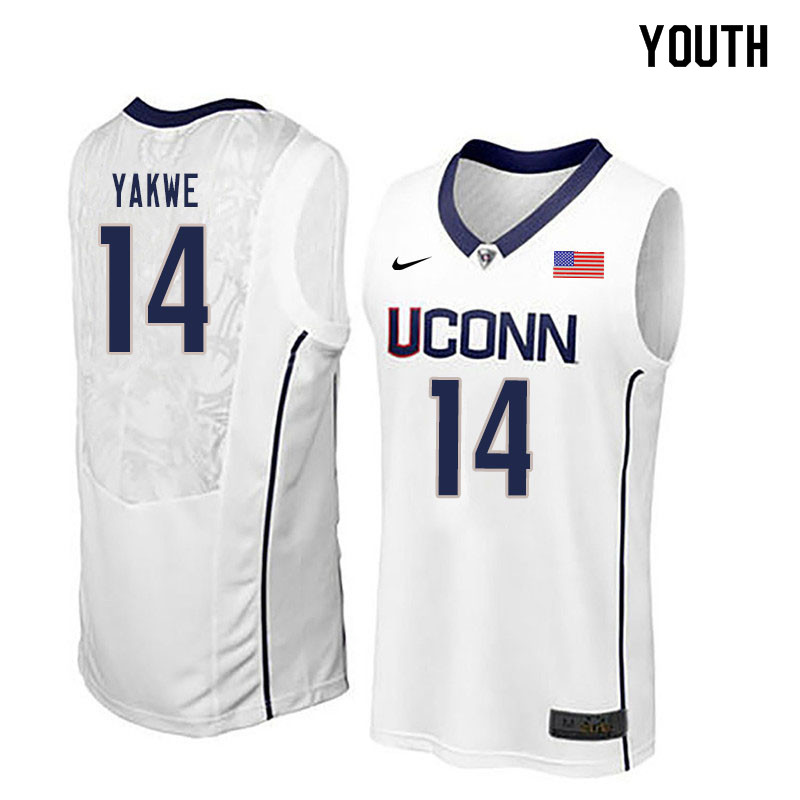 Youth #14 Kassoum Yakwe Uconn Huskies College Basketball Jerseys Sale-White