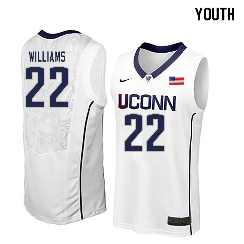 Youth #22 Kwintin Williams Uconn Huskies College Basketball Jerseys Sale-White