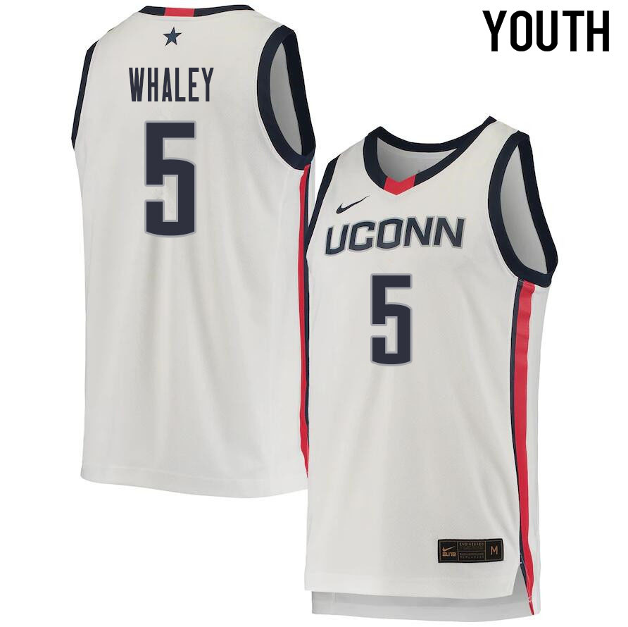 2021 Youth #5 Isaiah Whaley Uconn Huskies College Basketball Jerseys Sale-White