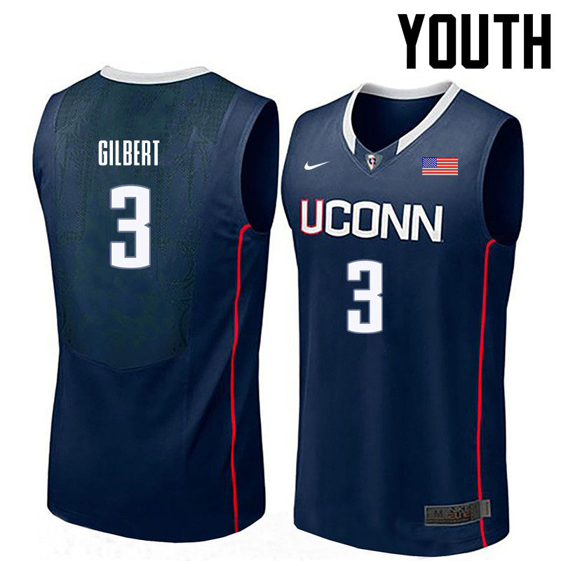 Youth Uconn Huskies #3 Alterique Gilbert College Basketball Jerseys-Navy
