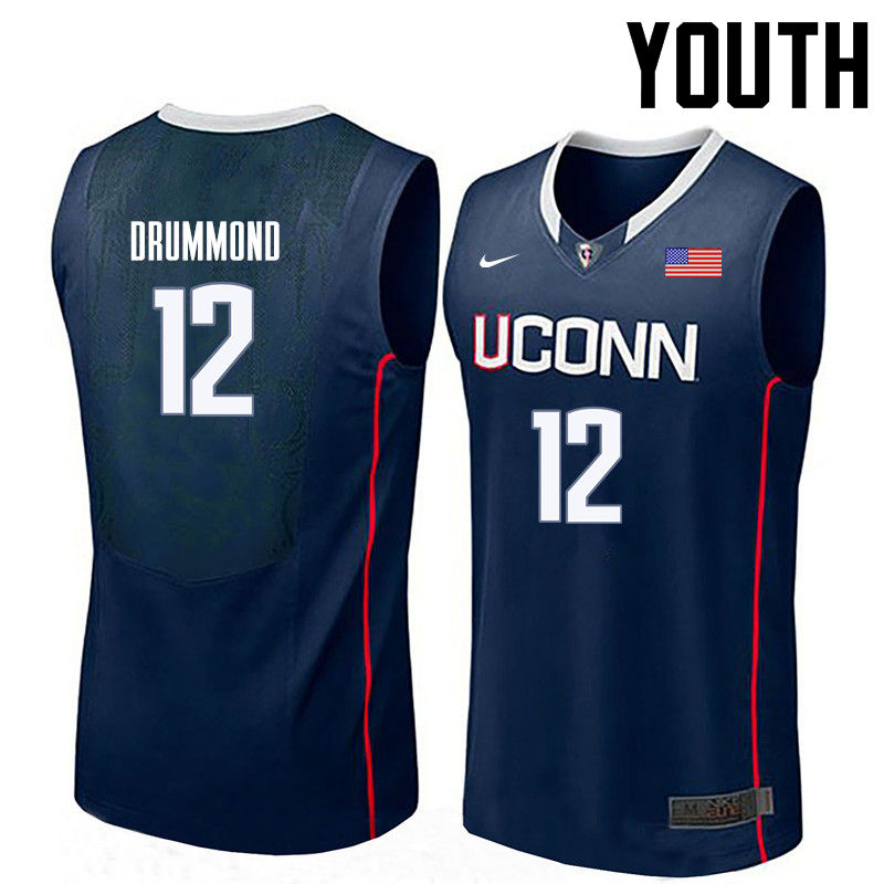 Youth Uconn Huskies #12 Andre Drummond College Basketball Jerseys-Navy