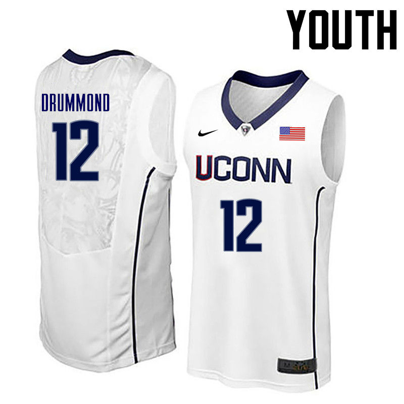 Youth Uconn Huskies #12 Andre Drummond College Basketball Jerseys-White