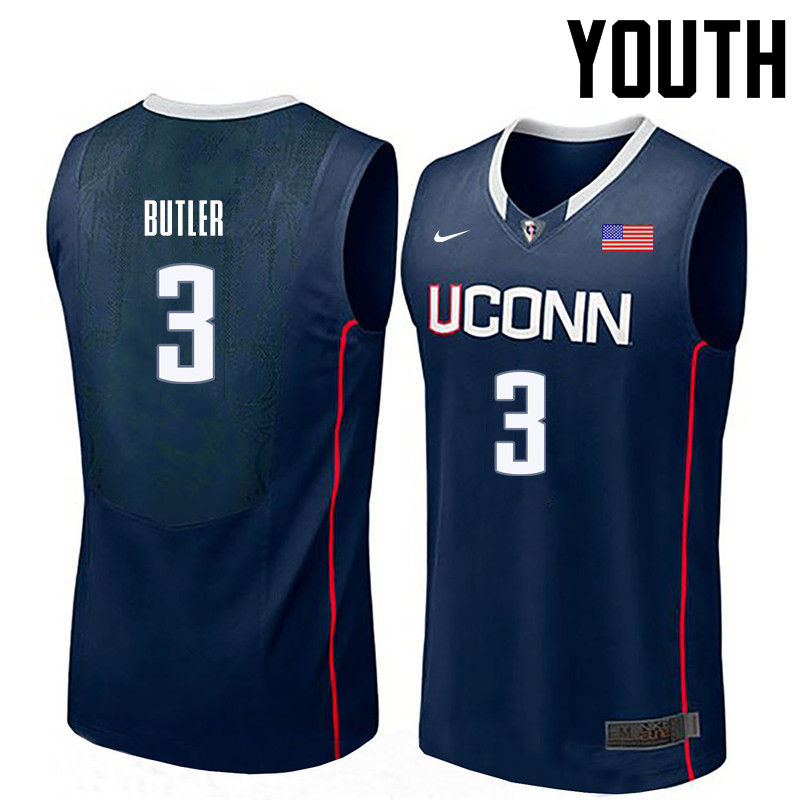 Youth Uconn Huskies #3 Caron Butler College Basketball Jerseys-Navy