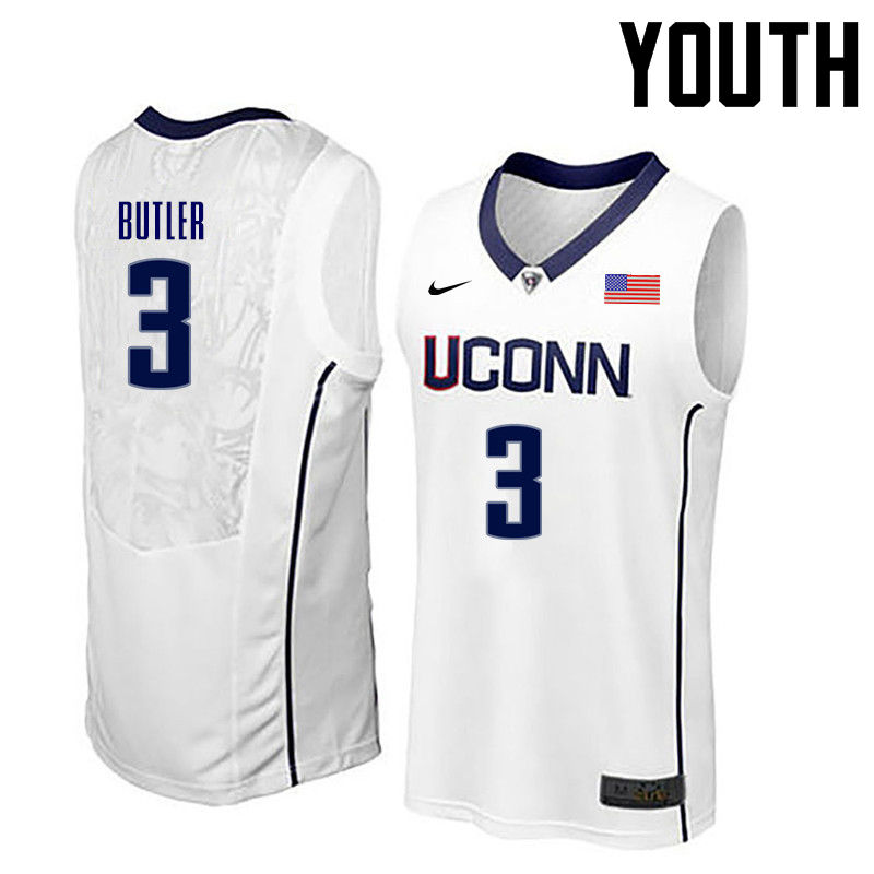 Youth Uconn Huskies #3 Caron Butler College Basketball Jerseys-White