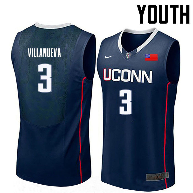 Youth Uconn Huskies #3 Charlie Villanueva College Basketball Jerseys-Navy