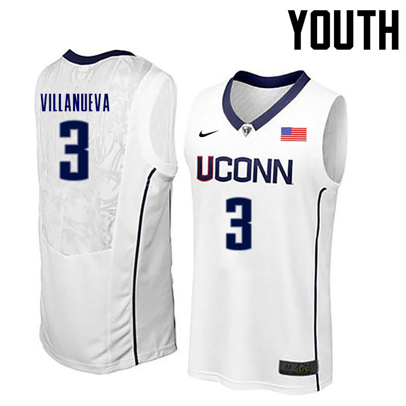 Youth Uconn Huskies #3 Charlie Villanueva College Basketball Jerseys-White
