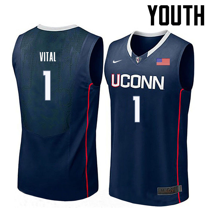 Youth Uconn Huskies #1 Christian Vital College Basketball Jerseys-Navy