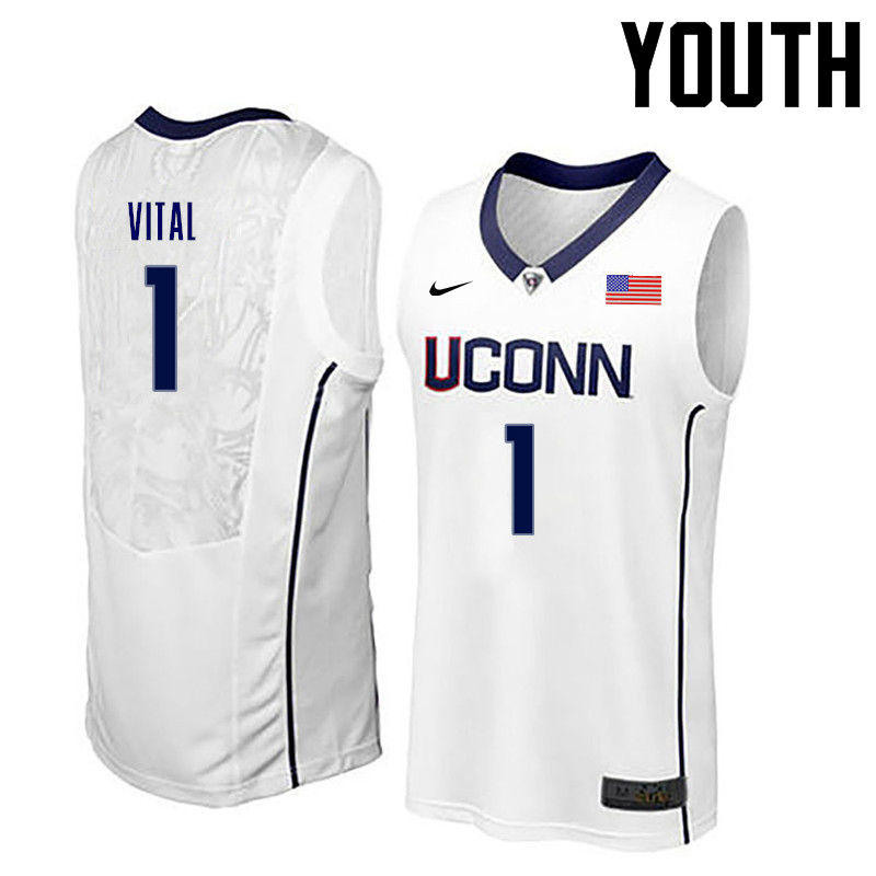 Youth Uconn Huskies #1 Christian Vital College Basketball Jerseys-White